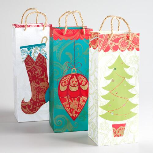 Christmas Tree Value Wine Bags, Set of 3