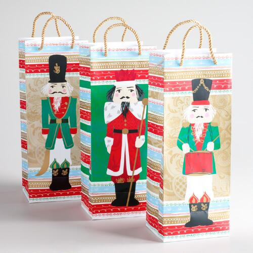 Nutcrackers Value Wine Gift Bags, Set of 3
