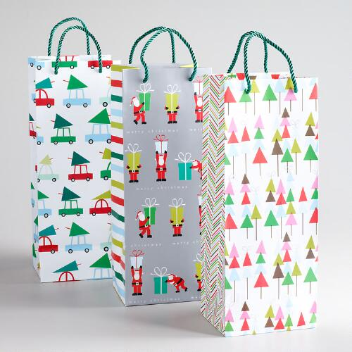 Santa with Big Present Value Wine Gift Bags, Set of 3