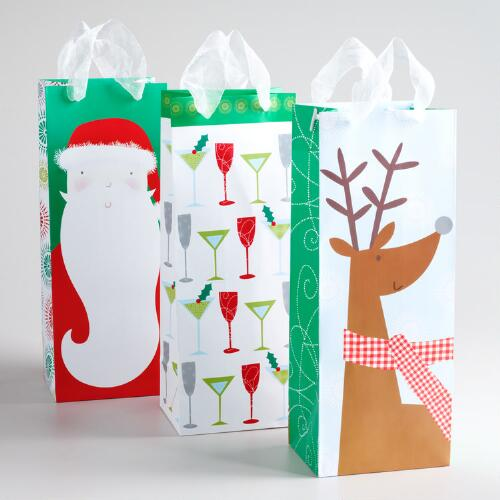 Reindeer with Scarf Value Wine Gift Bags, Set of 3