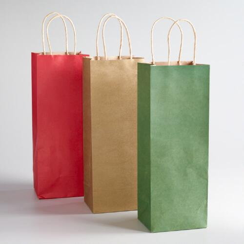Solid Kraft Value Wine Gift Bags, Set of 6
