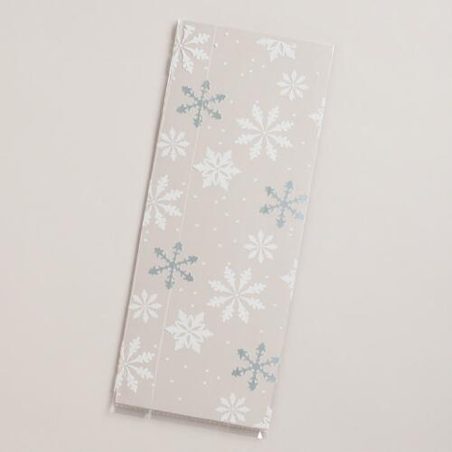 Snowflakes Cellophane Value Gift Bags, 20-Pack
