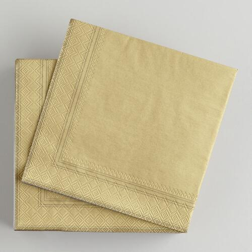 Gold Beverage Napkins, 50-Pack