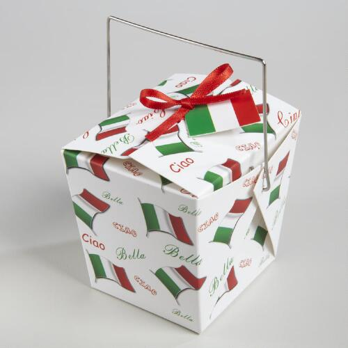 Mini Italian Flag Take Out Boxes, Set of 12