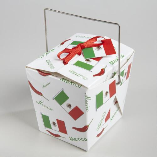 Mini Mexican Flag Take Out Boxes, Set of 12