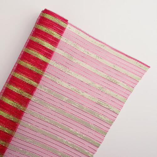 Large Red and Green Striped Deco Mesh