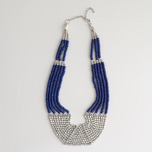Silver Blue Bone Bead Necklace