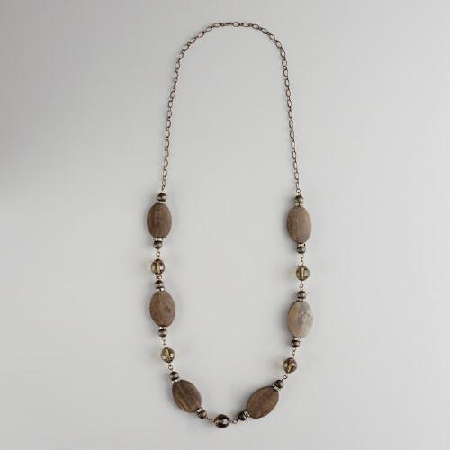 Long Chain Crystal and Wood Necklace