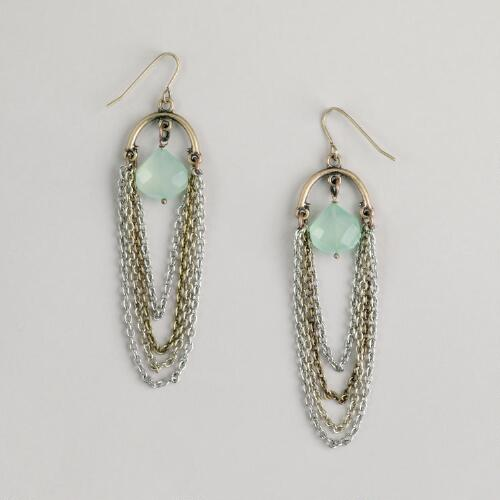 Green Drop and Multi-Strand Chain Earrings