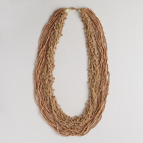 Gold Seed Bead Multi-Strand Crochet Necklace