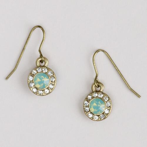 Green Rhinestone Drop Earrings