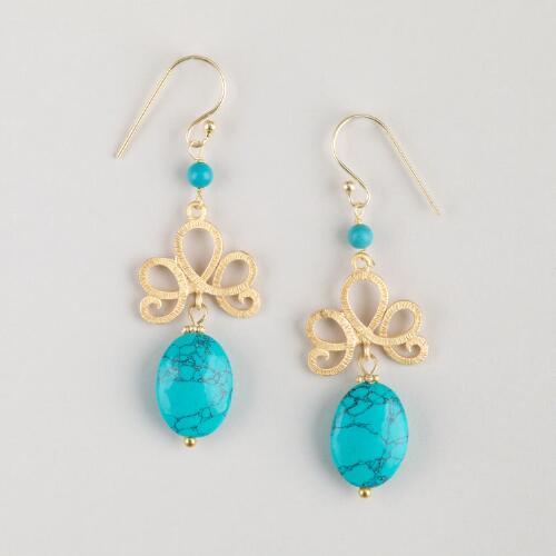 Turquoise and Gold Knot Drop Earrings