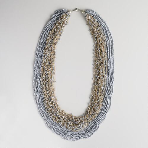 Silver Seed Bead Multi-Strand Crochet Necklace