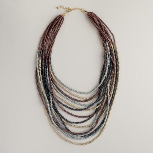 Purple and Gray Beads Multi-Strand Necklace