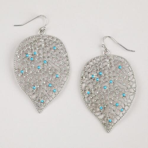 Silver and Turquoise Leaf Earrings