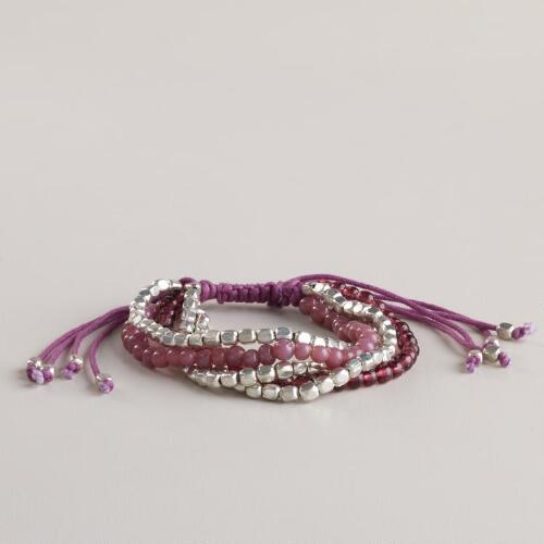 Silver and Purple Friendship Bracelet