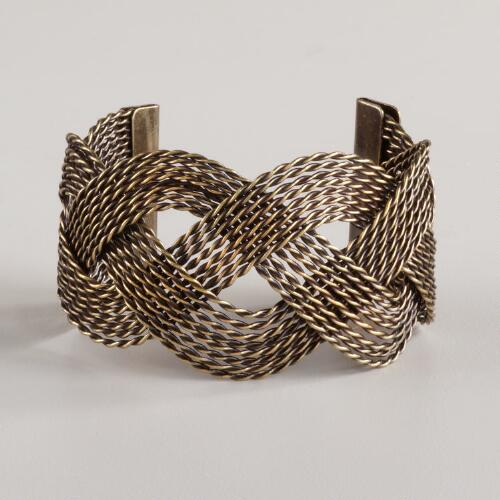 Brass Braid Cuff Bracelet