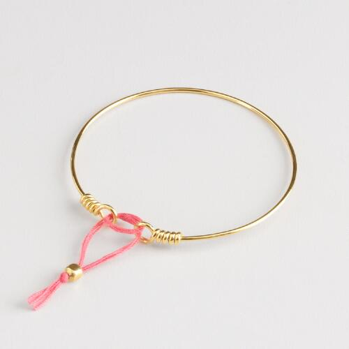 Gold Pink Knot Bangle
