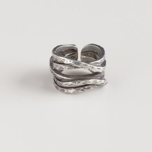 Silver Waves Adjustable Ring
