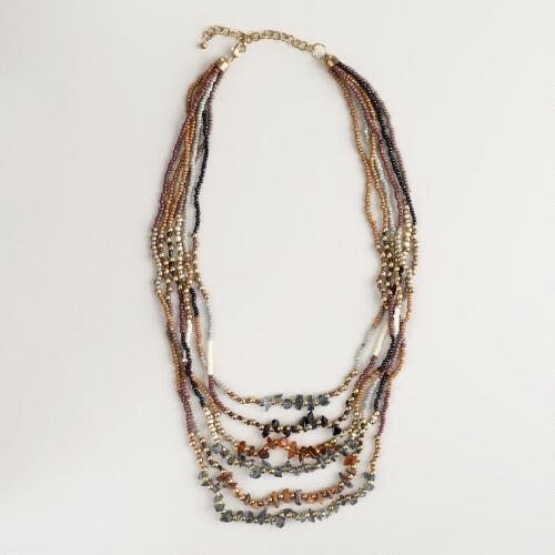 Brown Seed Bead and Agate Multi-Strand Necklace