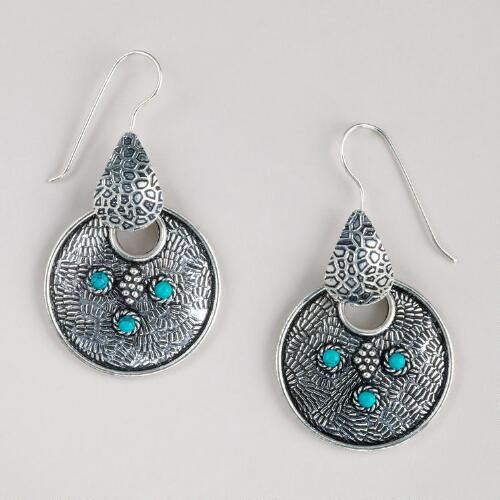 Silver Three Turquoise Dot Earrings