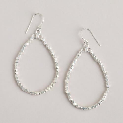 Silver Bead Teardrop Hoops