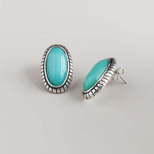 Turquoise & Silver Oval Stud Earrings