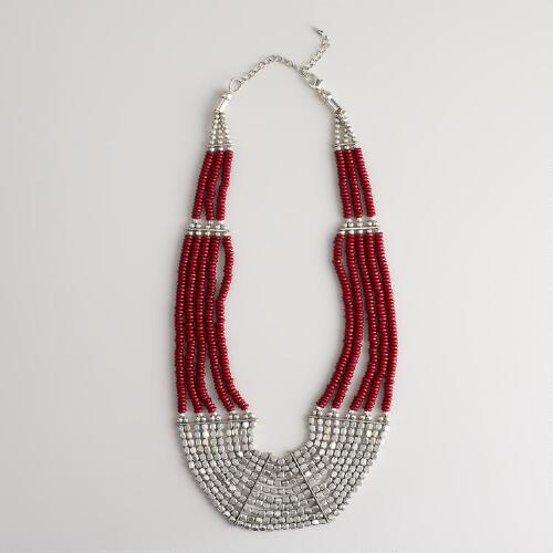 Silver and Red Bone Seed Bead Necklace
