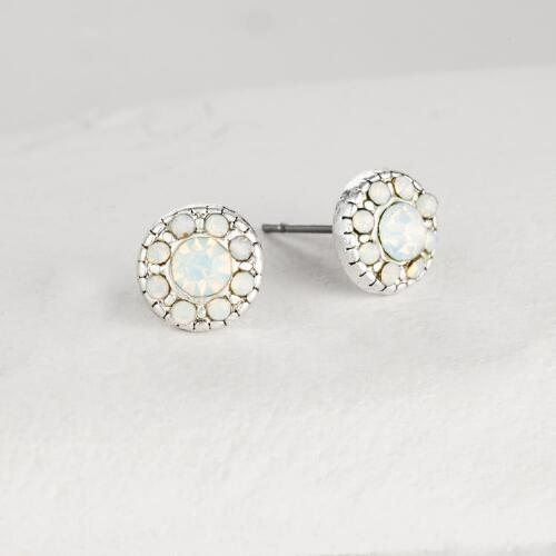 White Opal Crystal Stud Earrings