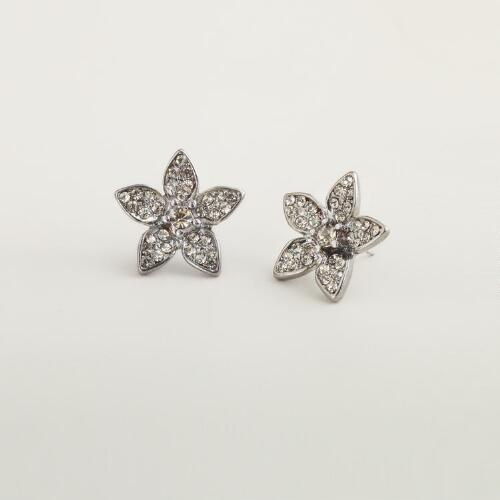 Hematite Crystal Flower Stud Earrings