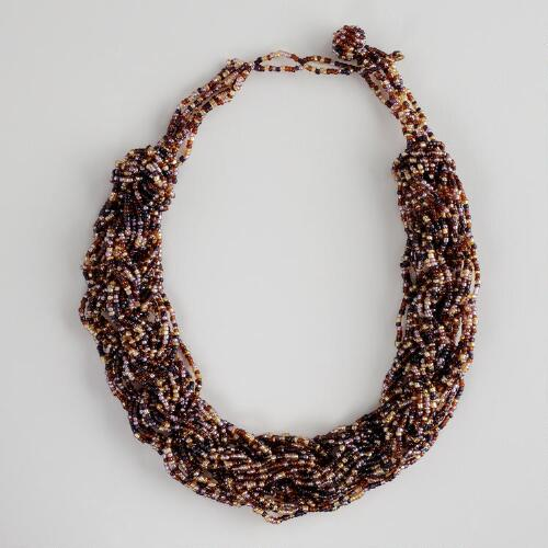 Purple Brown and Gold Link Seed Bead Necklace