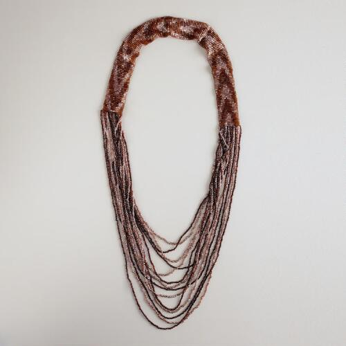 Purple and Brown Multi-Strand Necklace