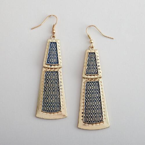Gold and Navy Chevron Earrings