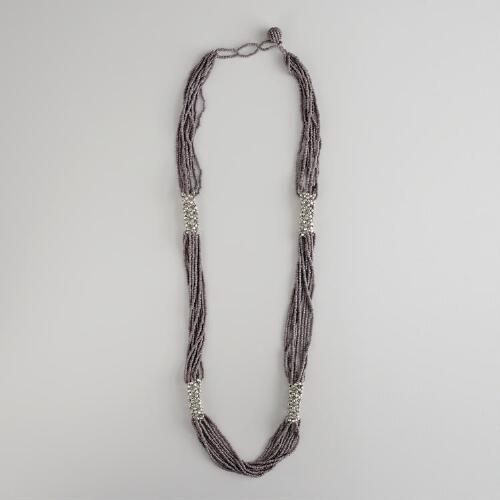 Silver and Gray Multi-Strand Seed Bead Necklace
