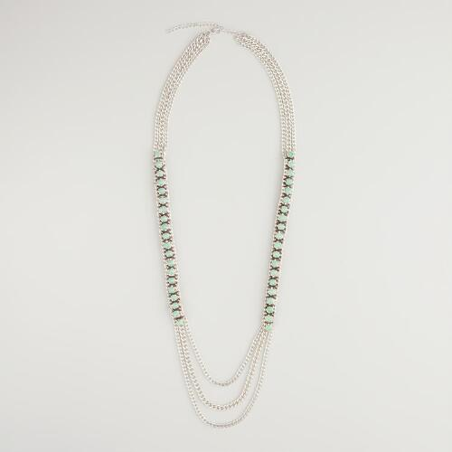 Green Stones and Silver Chain Necklace