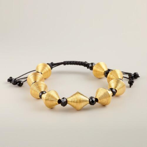 Adjustable Gold Cone and Glass Beads Friendship Bracelet