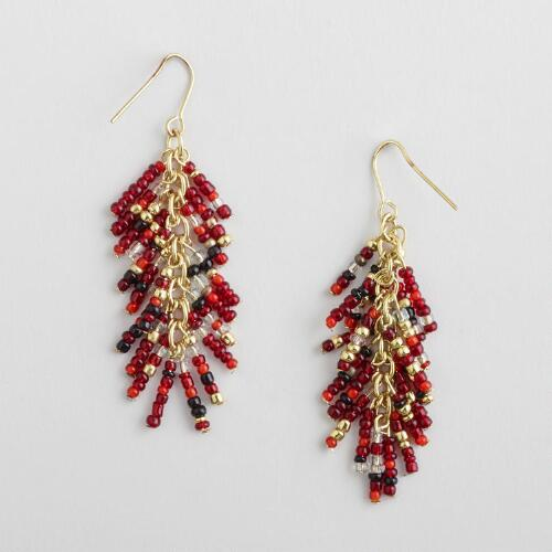 Red, Gray and Black Seed Beads Multi-Strand Earrings