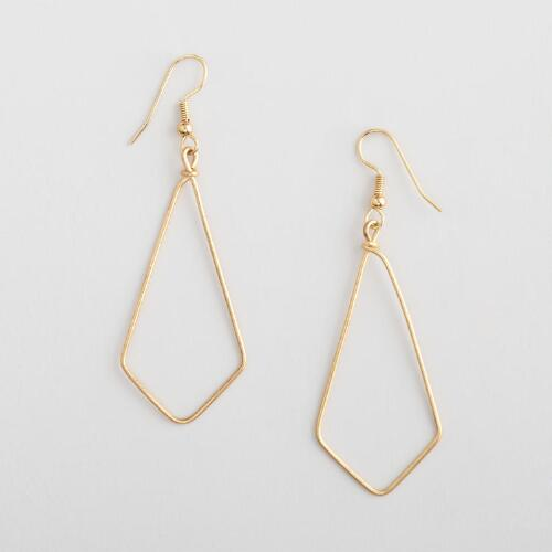 Gold Wire Triangle Hoop Earrings