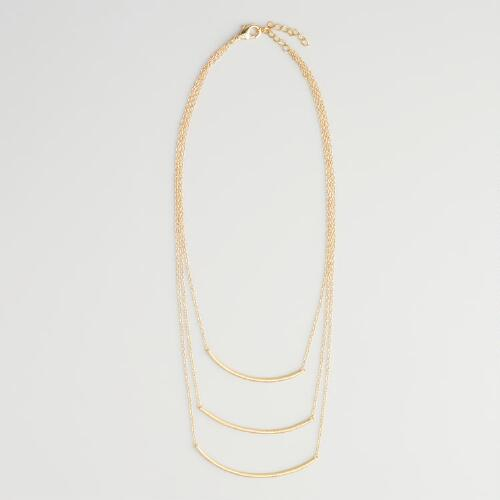 Gold 3-Tiered Chain Necklace