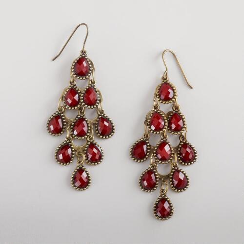 Red Tiered Chandelier Earrings