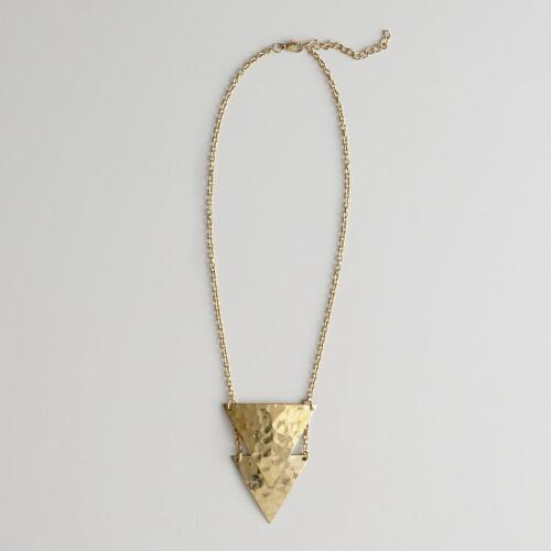 Gold Double Triangles Necklace