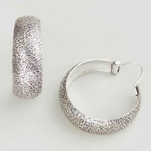 Silver Etched Wide Hoop Earrings