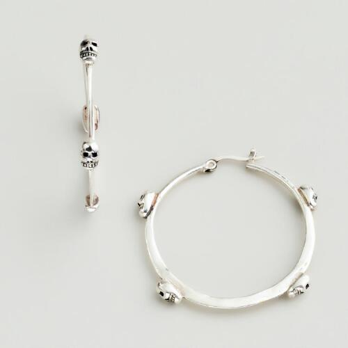 Silver Skulls Hoop Earrings