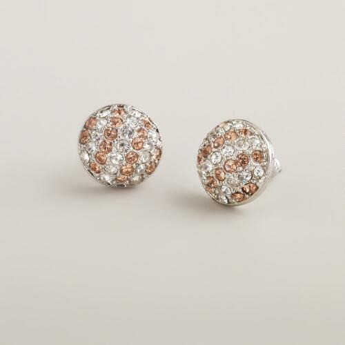 Gold and Crystal Striped Studs