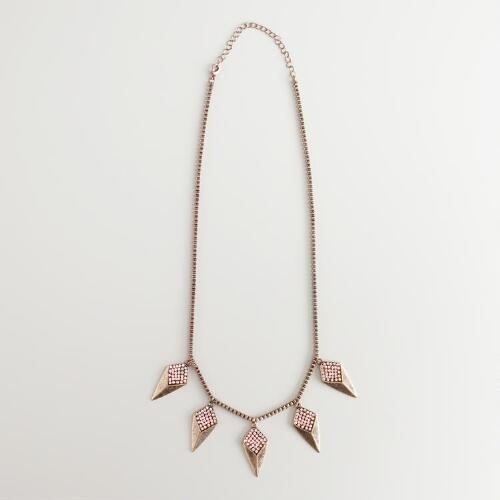 Gold and Rhinestone Spikes Necklace