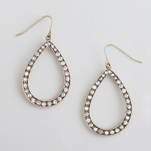 Gold and Crystal Teardrop Earrings