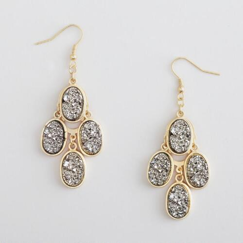 Pyrite and Gold Chandelier Earrings