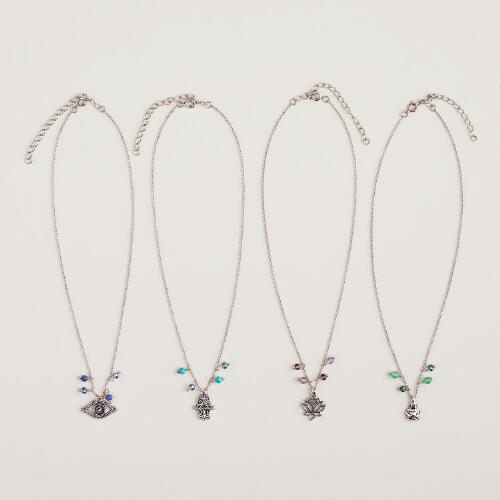 Silver Spiritual Charm Necklace
