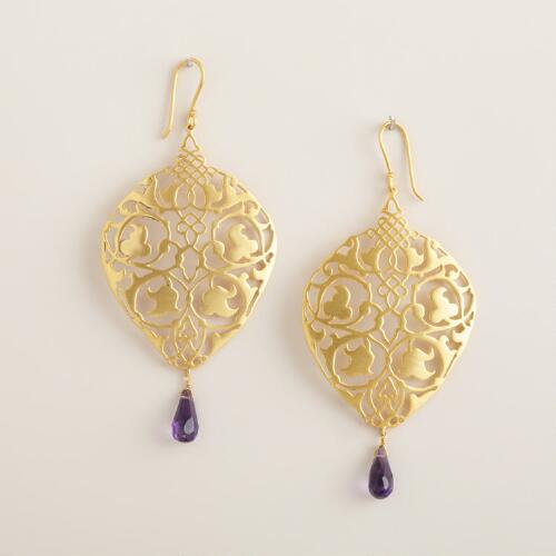 Fancy Gold Purple Drop Earrings