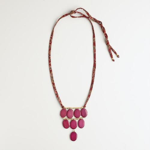 Wood, Fabric and Beads Statement Necklace